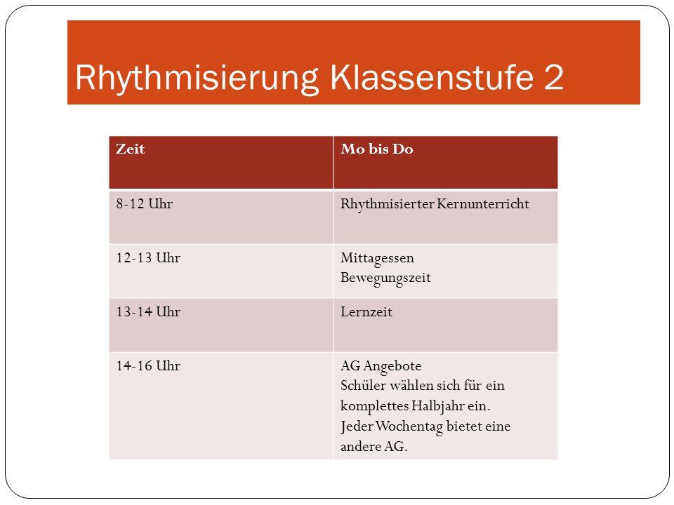 Rhythmisierung Klassenstufe 2 ZeitMo bis Do 8-12 UhrRhythmisierter Kernunterricht 12-13 UhrMittagessen Bewegungszeit 13-14 UhrLernzeit 14-16 UhrAG Angebote Schüler wählen sich für ein komplettes Halbjahr ein.
