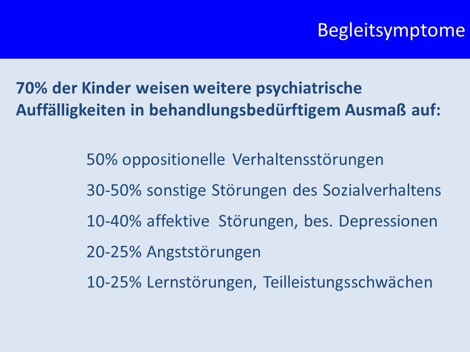 70% der Kinder weisen weitere psychiatrische Auffälligkeiten in behandlungsbedürftigem Ausmaß auf: 50% oppositionelle Verhaltensstörungen 30-50% sonstige Störungen des Sozialverhaltens 10-40% affektive Störungen, bes.