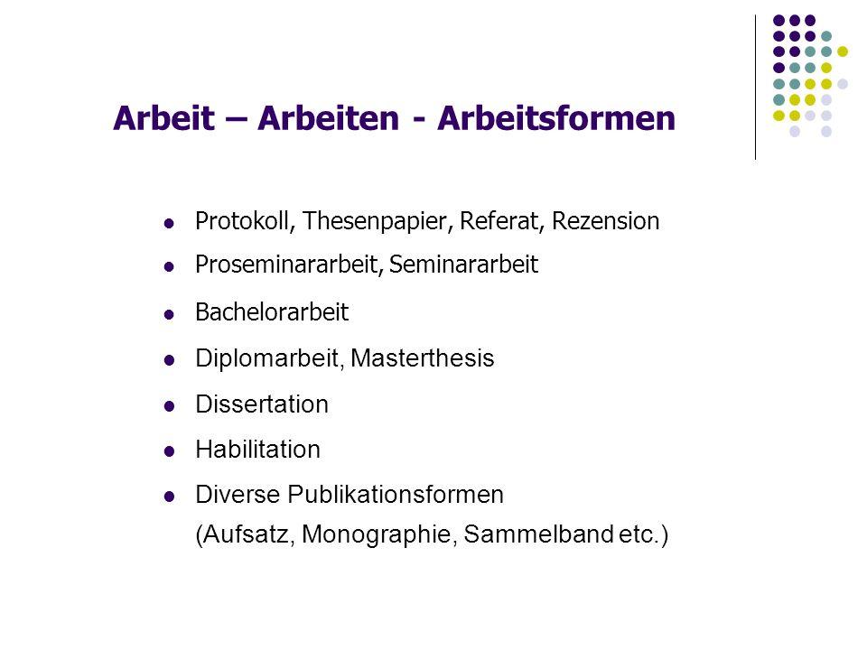 Literatur Recherche in Bibliotheken Publikationsarten Literaturverzeichnis Zitierregeln Lektüre, Lesen und Vorlesen Thema, Themenfindung etc.