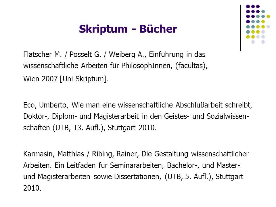 Skriptum - Bücher Flatscher M. / Posselt G.