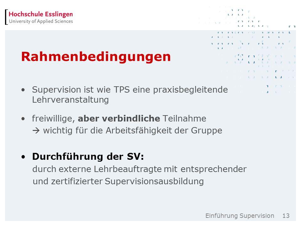Einführung Supervision 13 Rahmenbedingungen Supervision ist wie TPS eine praxisbegleitende Lehrveranstaltung freiwillige, aber verbindliche Teilnahme  wichtig für die Arbeitsfähigkeit der Gruppe Durchführung der SV: durch externe Lehrbeauftragte mit entsprechender und zertifizierter Supervisionsausbildung