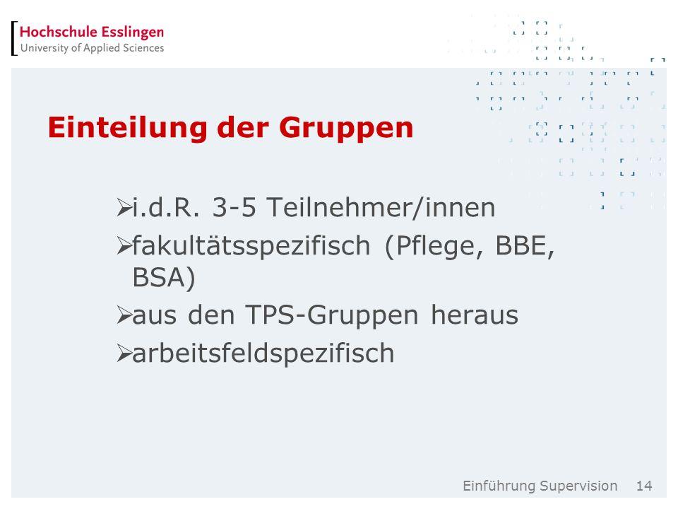 Einführung Supervision 14 Einteilung der Gruppen  i.d.R.