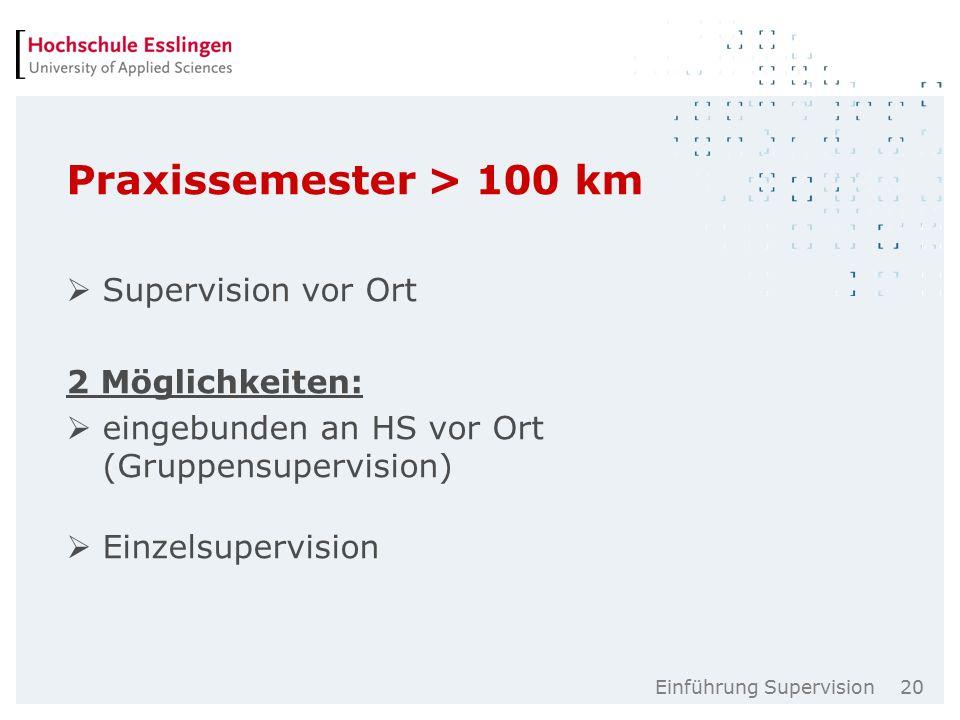 Einführung Supervision 20 Praxissemester > 100 km  Supervision vor Ort 2 Möglichkeiten:  eingebunden an HS vor Ort (Gruppensupervision)  Einzelsupervision