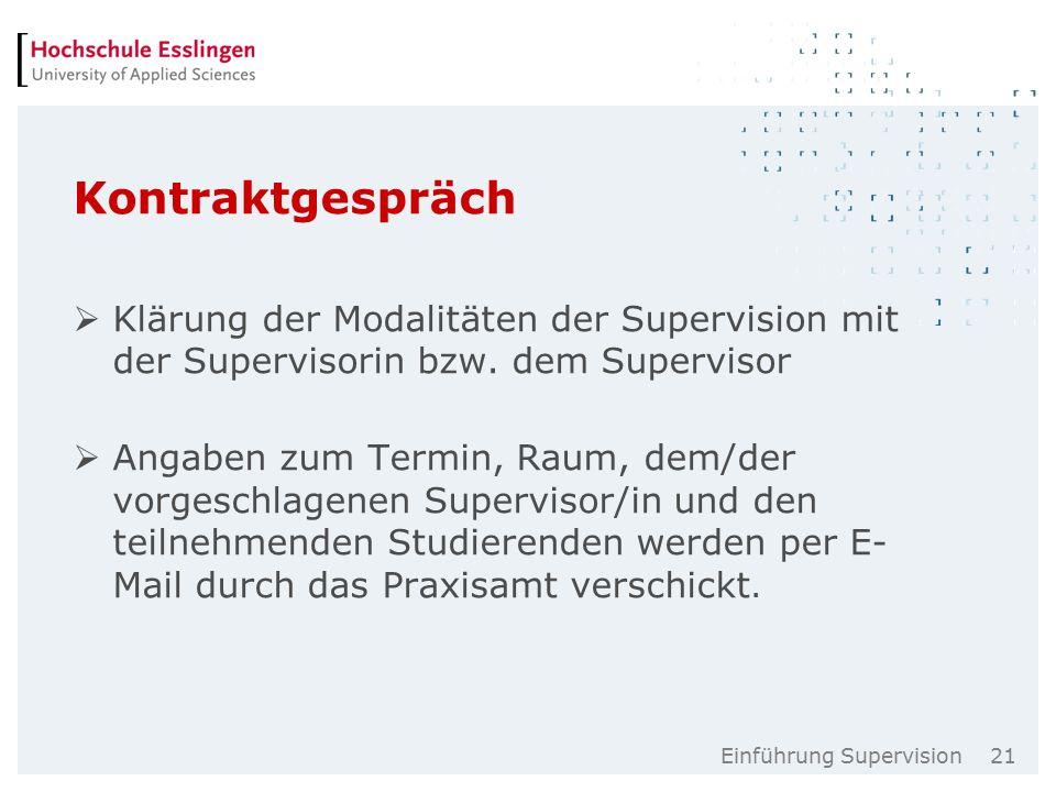 Einführung Supervision 21 Kontraktgespräch  Klärung der Modalitäten der Supervision mit der Supervisorin bzw.