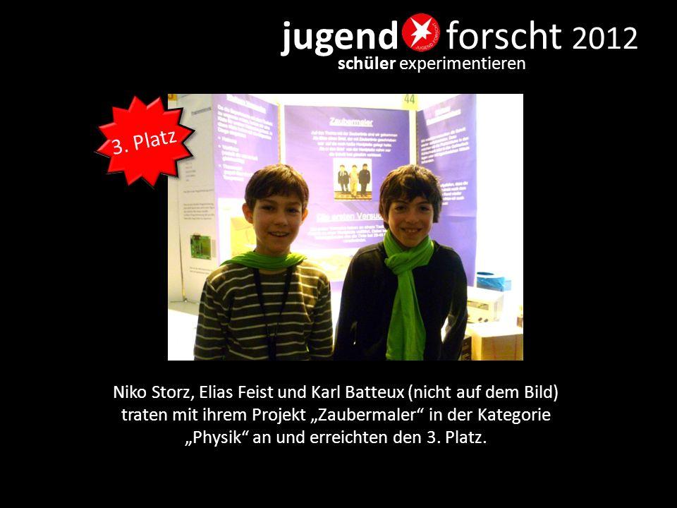 """jugend forscht 2012 schüler experimentieren Niko Storz, Elias Feist und Karl Batteux (nicht auf dem Bild) traten mit ihrem Projekt """"Zaubermaler"""" in de"""