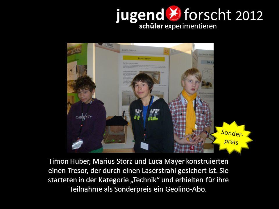 """jugend forscht 2012 schüler experimentieren Felix Francke, Tim Dietrich und Tobias Mosbrugger gewannen mit ihrem """"Fischfutterautomat den 2."""