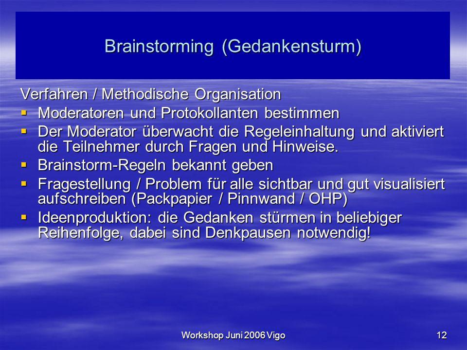 Workshop Juni 2006 Vigo12 Brainstorming (Gedankensturm) Verfahren / Methodische Organisation  Moderatoren und Protokollanten bestimmen  Der Moderator überwacht die Regeleinhaltung und aktiviert die Teilnehmer durch Fragen und Hinweise.