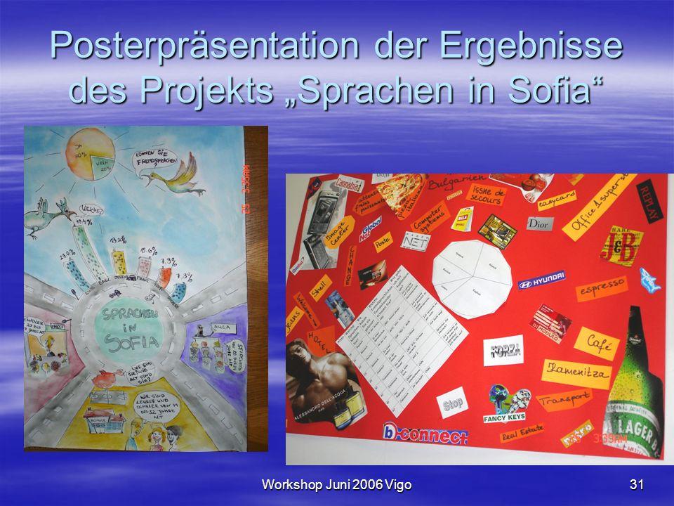 """Workshop Juni 2006 Vigo31 Posterpräsentation der Ergebnisse des Projekts """"Sprachen in Sofia"""