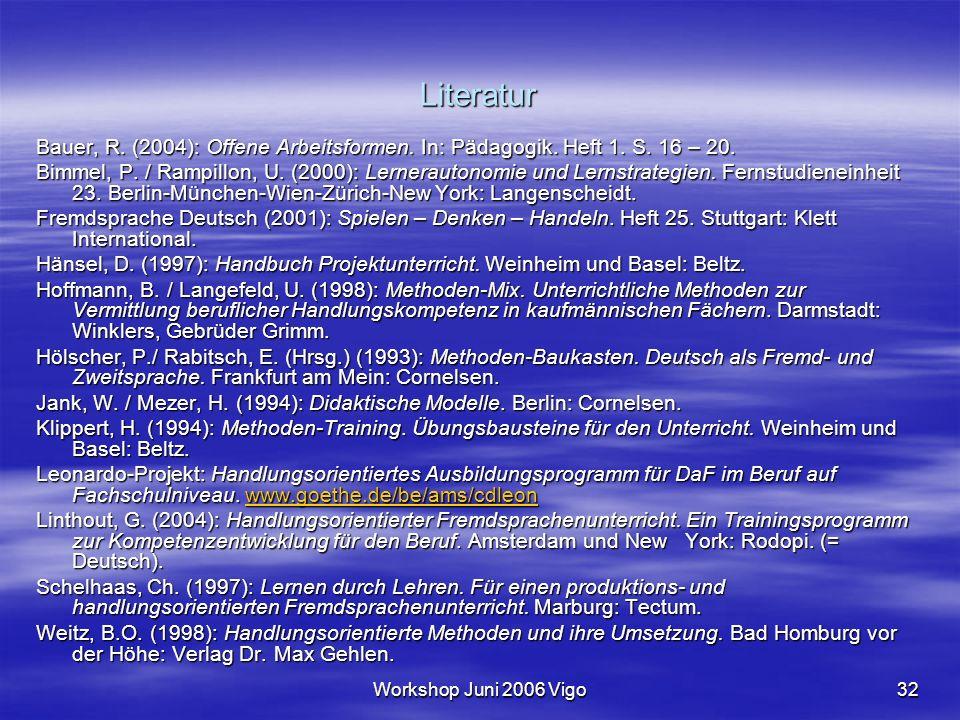 Workshop Juni 2006 Vigo32 Literatur Bauer, R. (2004): Offene Arbeitsformen. In: Pädagogik. Heft 1. S. 16 – 20. Bimmel, P. / Rampillon, U. (2000): Lern