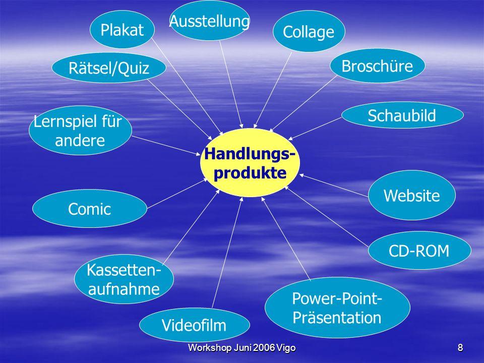 Workshop Juni 2006 Vigo8 Handlungs- produkte Plakat Ausstellung Collage Website CD-ROM Videofilm Kassetten- aufnahme Lernspiel für andere Comic Schaub