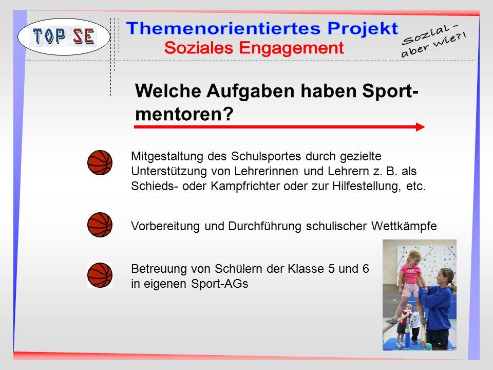 Mitgestaltung des Schulsportes durch gezielte Unterstützung von Lehrerinnen und Lehrern z. B. als Schieds- oder Kampfrichter oder zur Hilfestellung, e