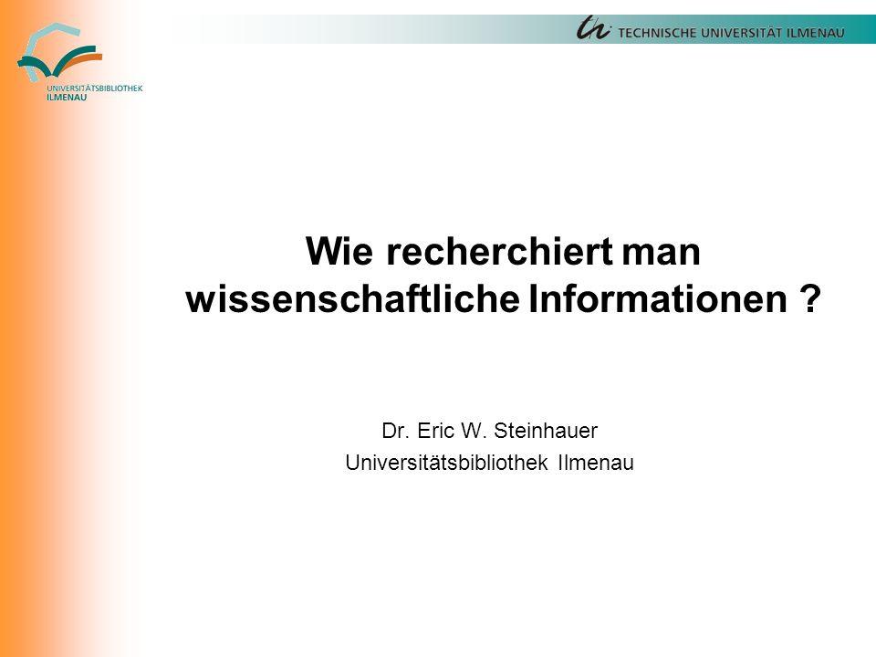 Wie recherchiert man wissenschaftliche Informationen .
