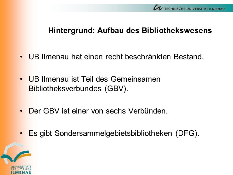 Hintergrund: Aufbau des Bibliothekswesens UB Ilmenau hat einen recht beschränkten Bestand.