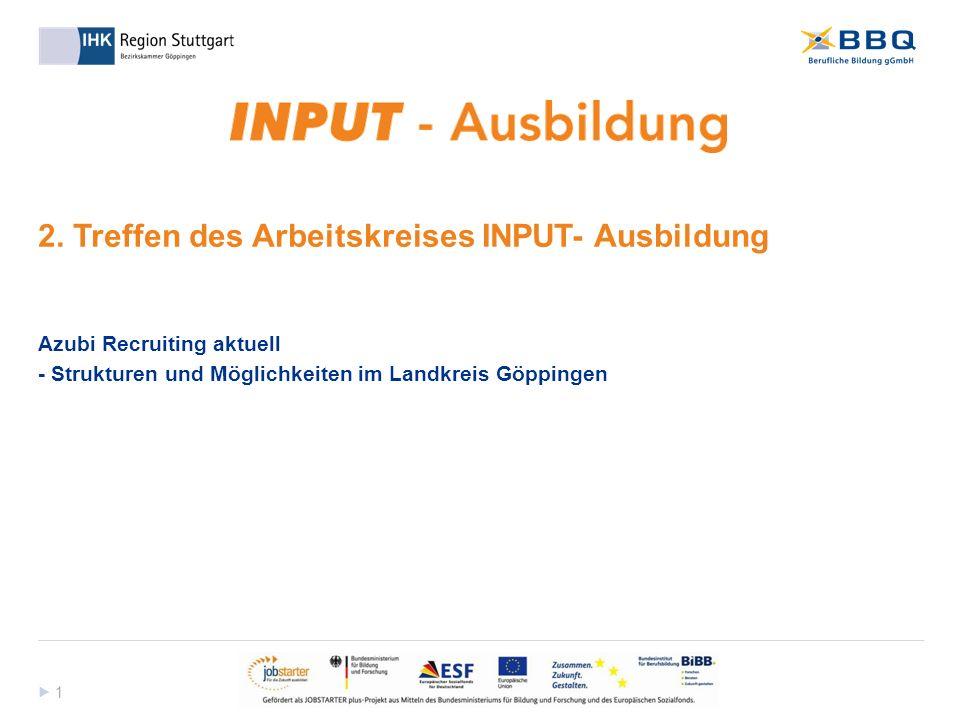 1 1 2. Treffen des Arbeitskreises INPUT- Ausbildung Azubi Recruiting aktuell - Strukturen und Möglichkeiten im Landkreis Göppingen