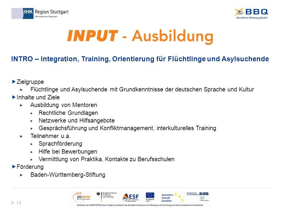  14 INTRO – Integration, Training, Orientierung für Flüchtlinge und Asylsuchende  Zielgruppe  Flüchtlinge und Asylsuchende mit Grundkenntnisse der
