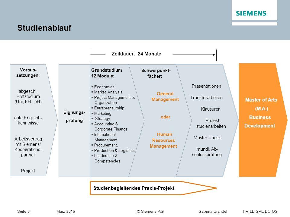 Seite 5Sabrina Brandel HR LE SPE BO OS März 2016 © Siemens AG Studienablauf Eignungs- prüfung Präsentationen Transferarbeiten Klausuren Projekt- studienarbeiten Master-Thesis mündl.