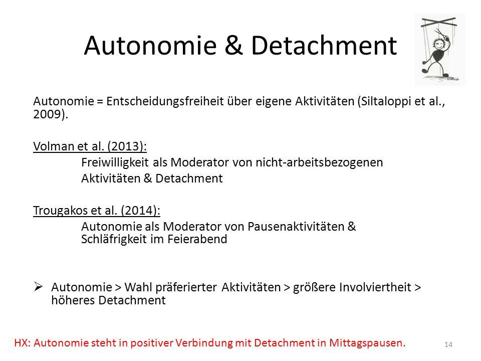 Autonomie & Detachment Autonomie = Entscheidungsfreiheit über eigene Aktivitäten (Siltaloppi et al., 2009).