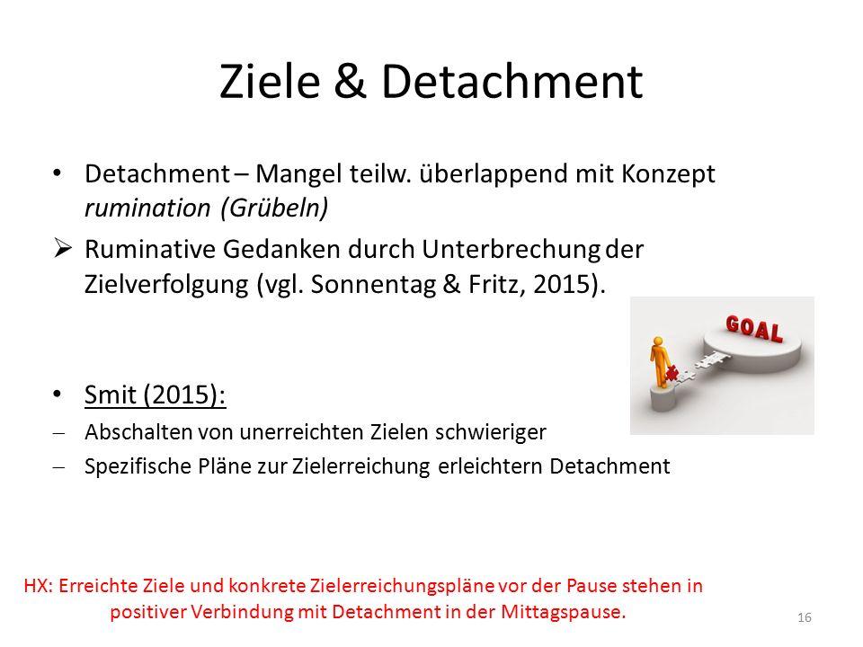 Ziele & Detachment Detachment – Mangel teilw.