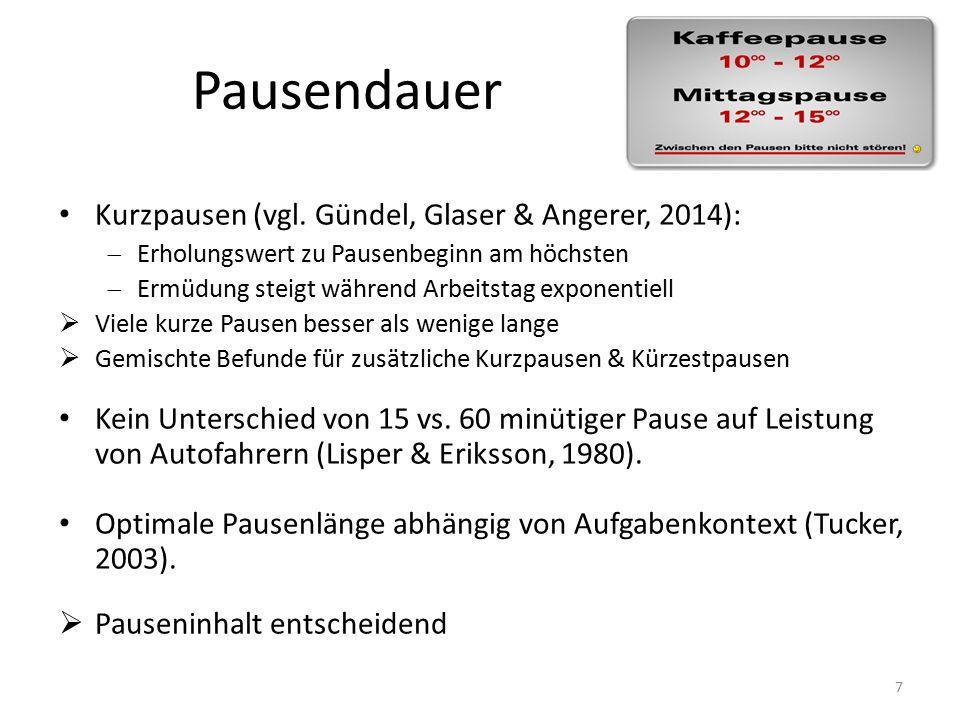 Pausendauer Kurzpausen (vgl.