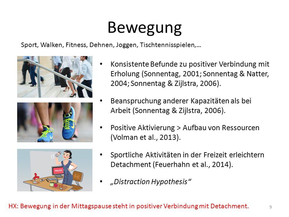 Soziale Aktivitäten Generell/ im Feierabend: Möglichkeit für soziale Unterstützung Erhöhter positiver Affekt, Detachment & Erholung (z.B.