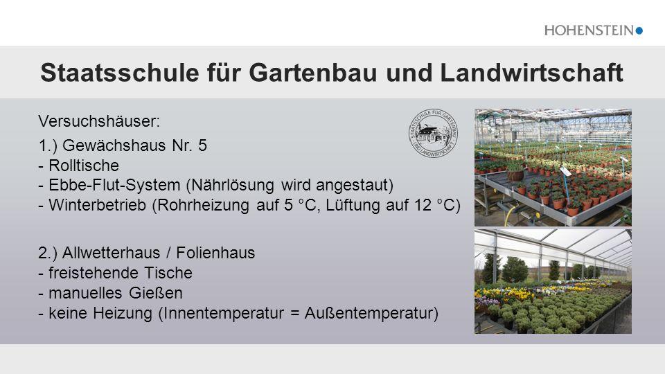 Staatsschule für Gartenbau und Landwirtschaft Versuchshäuser: 1.) Gewächshaus Nr. 5 - Rolltische - Ebbe-Flut-System (Nährlösung wird angestaut) - Wint
