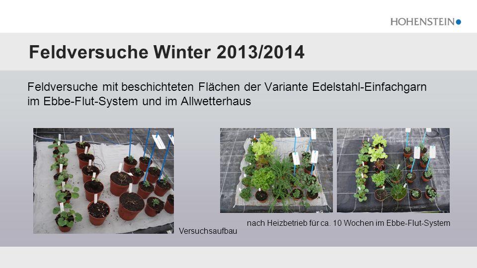 Feldversuche Winter 2013/2014 Feldversuche mit beschichteten Flächen der Variante Edelstahl-Einfachgarn im Ebbe-Flut-System und im Allwetterhaus nach Heizbetrieb für ca.