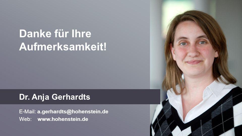 Danke für Ihre Aufmerksamkeit! Dr. Anja Gerhardts E-Mail: a.gerhardts@hohenstein.de Web: www.hohenstein.de