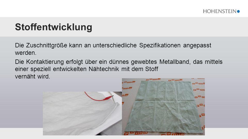 Textilprüfungen Schnelle und gleichmäßige Aufheizung, starke mechanische Belastbarkeit 25,3 °C 25,8 °C 9 V, 2 min 9 V, 60 min nach 10.000 Belastungszyklen Neuzustand