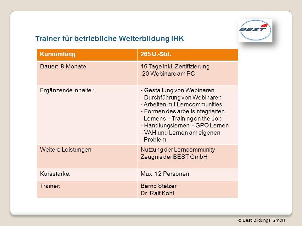 © Best Bildungs-GmbH Trainer für betriebliche Weiterbildung IHK Kursumfang265 U.-Std. Dauer: 8 Monate16 Tage inkl. Zertifizierung 20 Webinare am PC Er