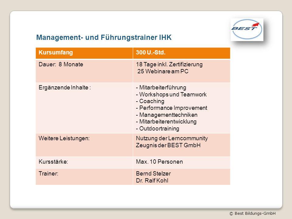 © Best Bildungs-GmbH Management- und Führungstrainer IHK Kursumfang300 U.-Std. Dauer: 8 Monate18 Tage inkl. Zertifizierung 25 Webinare am PC Ergänzend