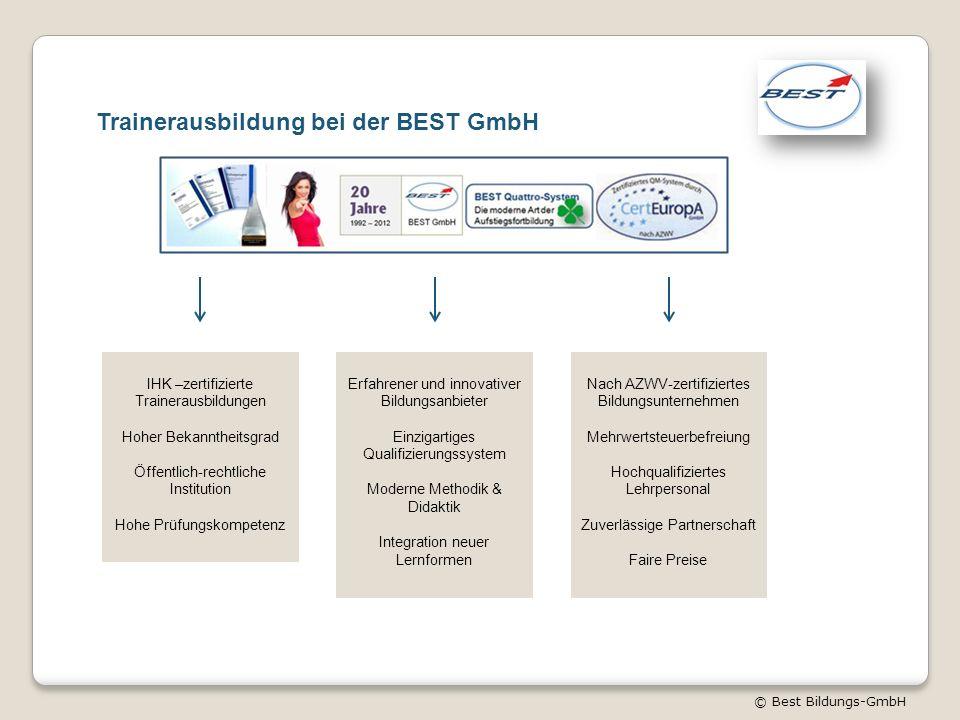 © Best Bildungs-GmbH Trainerausbildung bei der BEST GmbH IHK –zertifizierte Trainerausbildungen Hoher Bekanntheitsgrad Öffentlich-rechtliche Instituti