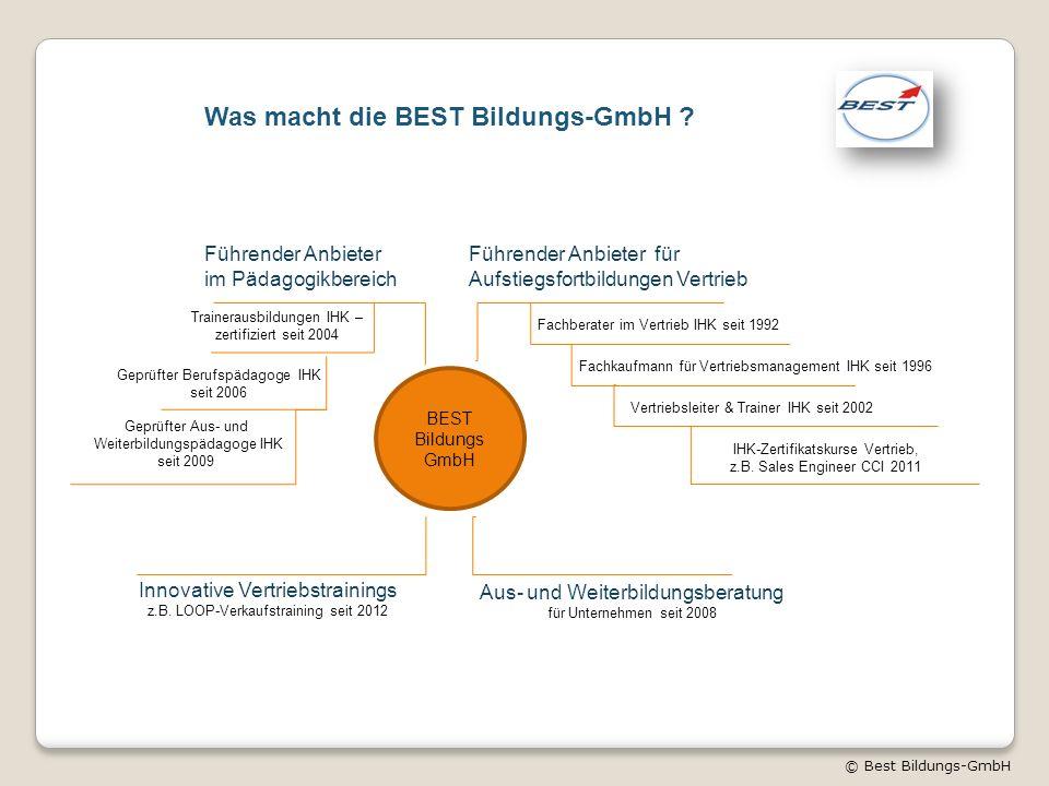 © Best Bildungs-GmbH Was macht die BEST Bildungs-GmbH ? BEST Bildungs GmbH Führender Anbieter im Pädagogikbereich Trainerausbildungen IHK – zertifizie
