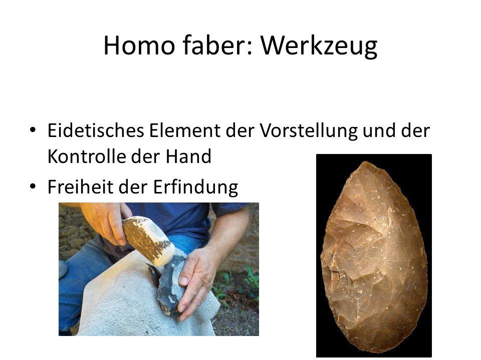 Homo faber: Werkzeug Eidetisches Element der Vorstellung und der Kontrolle der Hand Freiheit der Erfindung