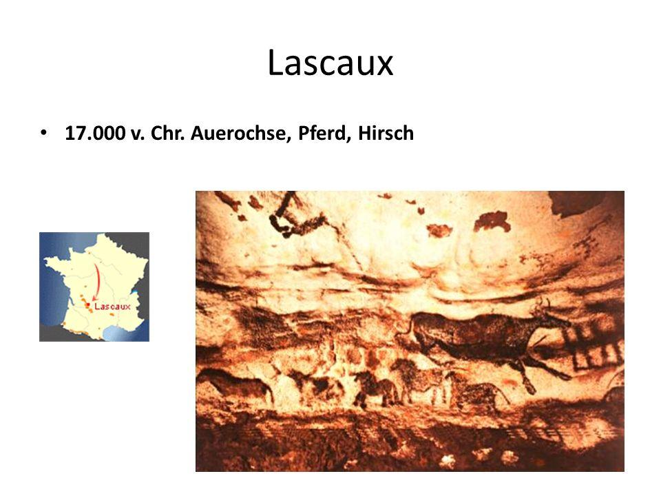 Lascaux 17.000 v. Chr. Auerochse, Pferd, Hirsch