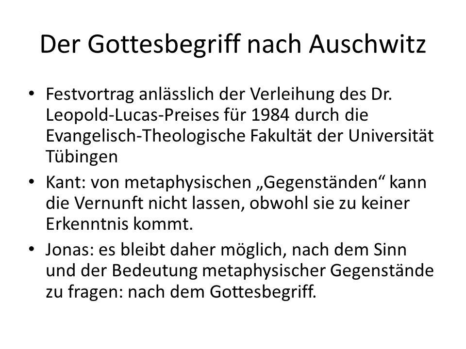 Der Gottesbegriff nach Auschwitz Festvortrag anlässlich der Verleihung des Dr.