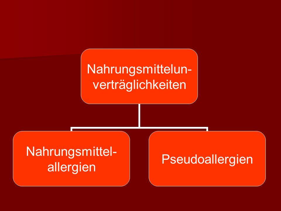 Nahrungsmittelun- verträglichkeiten Nahrungsmittel- allergien Pseudoallergien