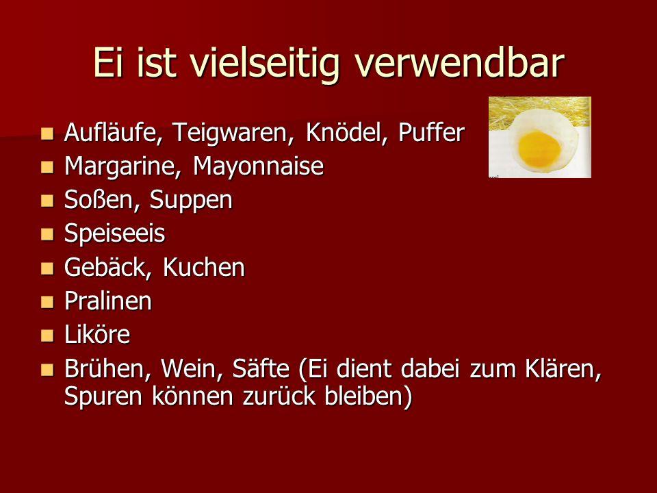 Ei ist vielseitig verwendbar Aufläufe, Teigwaren, Knödel, Puffer Aufläufe, Teigwaren, Knödel, Puffer Margarine, Mayonnaise Margarine, Mayonnaise Soßen
