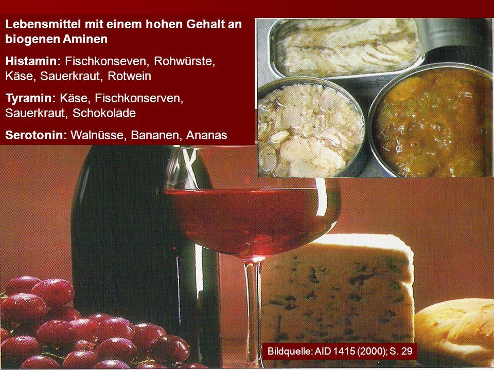 Lebensmittel mit einem hohen Gehalt an biogenen Aminen Histamin: Fischkonseven, Rohwürste, Käse, Sauerkraut, Rotwein Tyramin: Käse, Fischkonserven, Sa