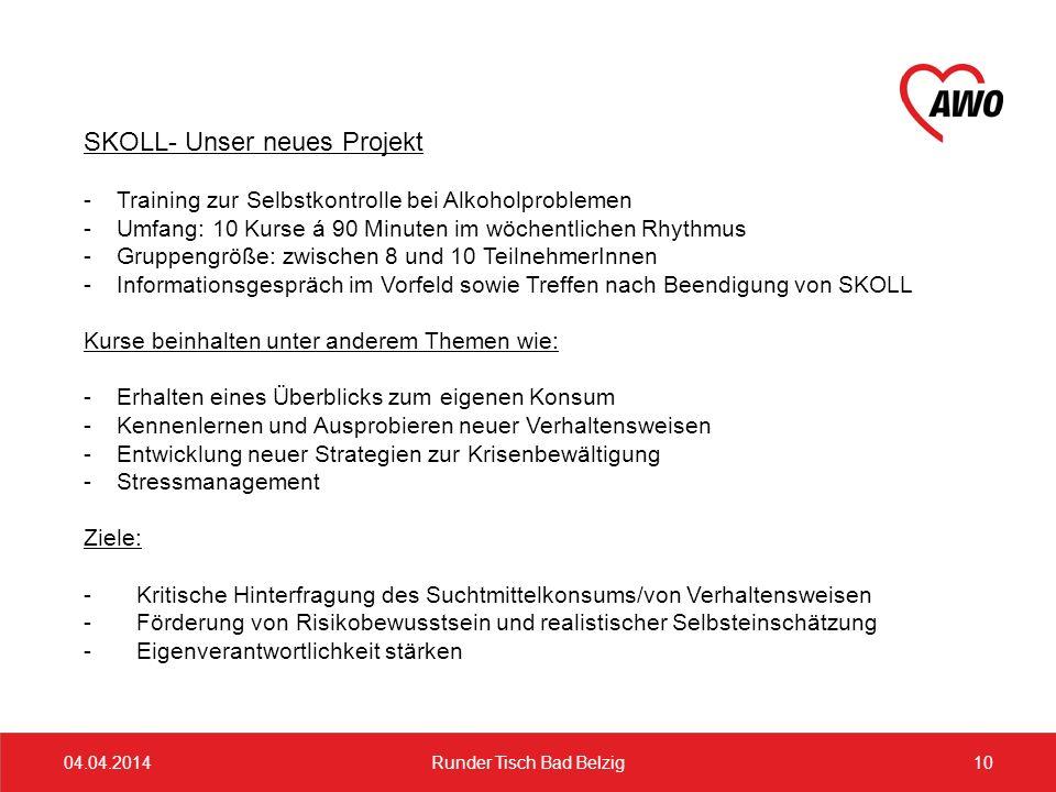 04.04.201410Runder Tisch Bad Belzig SKOLL- Unser neues Projekt -Training zur Selbstkontrolle bei Alkoholproblemen -Umfang: 10 Kurse á 90 Minuten im wö