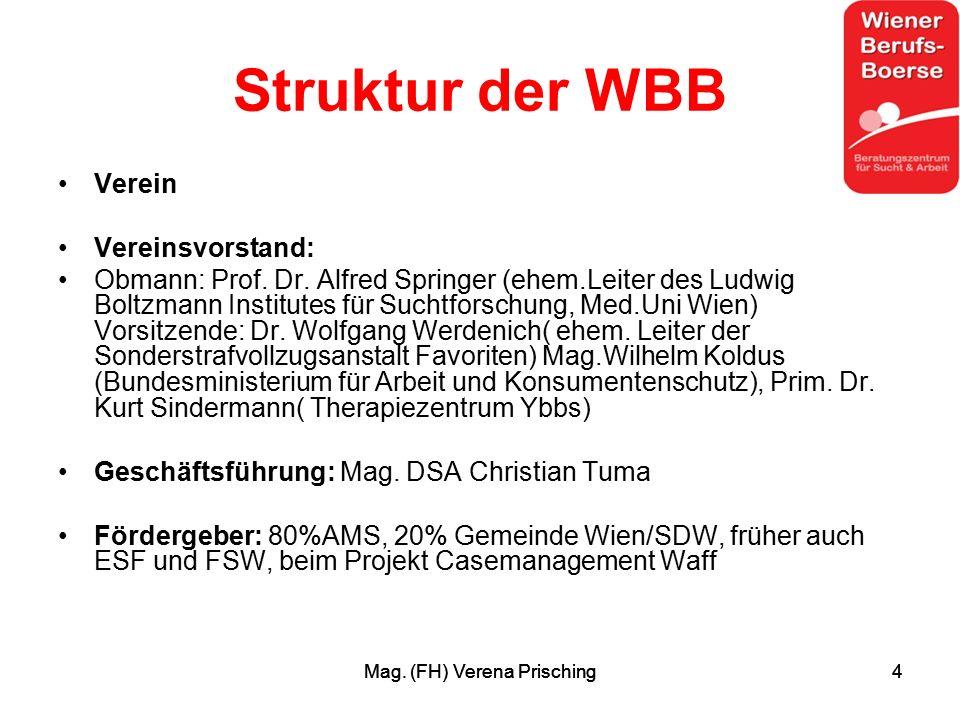 Mag. (FH) Verena Prisching4 4 Struktur der WBB Verein Vereinsvorstand: Obmann: Prof.