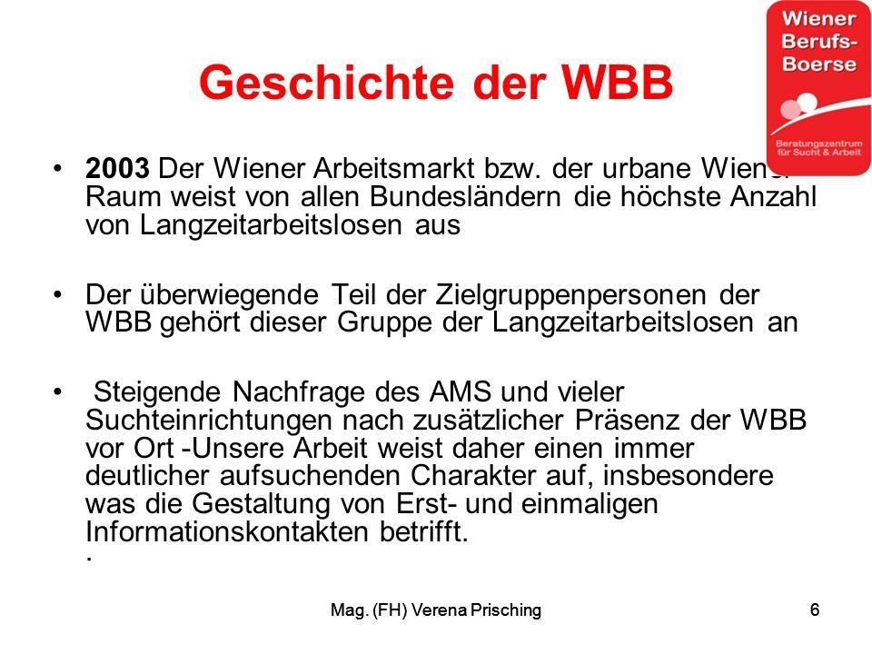 Mag. (FH) Verena Prisching6 6 Geschichte der WBB 2003 Der Wiener Arbeitsmarkt bzw.