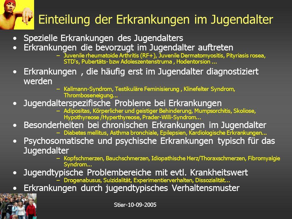 Stier-10-09-2005 Einteilung der Erkrankungen im Jugendalter Spezielle Erkrankungen des Jugendalters Erkrankungen die bevorzugt im Jugendalter auftreten –Juvenile rheumatoide Arthritis (RF+), Juvenile Dermatomyositis, Pityriasis rosea, STD's, Pubertäts- bzw Adoleszentenstruma, Hodentorsion...
