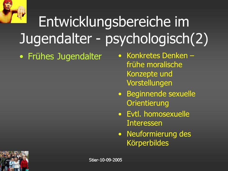 Stier-10-09-2005 Entwicklungsbereiche im Jugendalter - psychologisch(2) Frühes Jugendalter Konkretes Denken – frühe moralische Konzepte und Vorstellungen Beginnende sexuelle Orientierung Evtl.