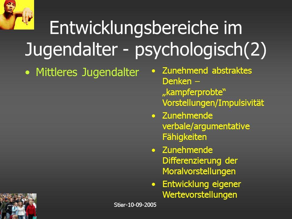 """Stier-10-09-2005 Entwicklungsbereiche im Jugendalter - psychologisch(2) Mittleres Jugendalter Zunehmend abstraktes Denken – """"kampferprobte Vorstellungen/Impulsivität Zunehmende verbale/argumentative Fähigkeiten Zunehmende Differenzierung der Moralvorstellungen Entwicklung eigener Wertevorstellungen"""