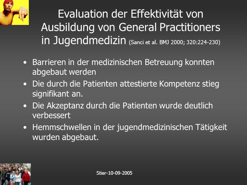 Stier-10-09-2005 Evaluation der Effektivität von Ausbildung von General Practitioners in Jugendmedizin (Sanci et al.