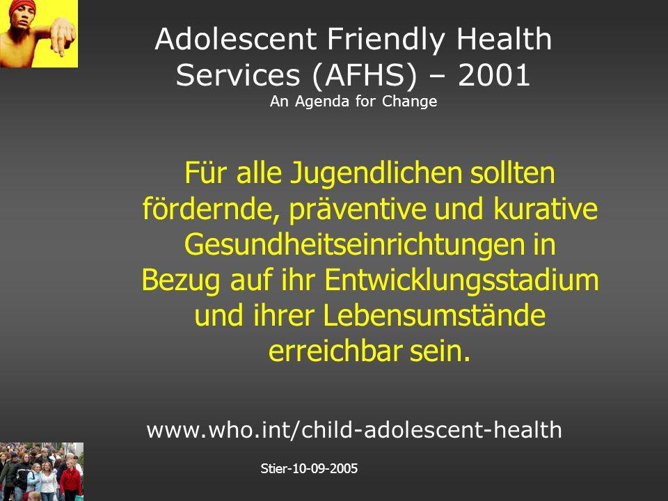 Stier-10-09-2005 Notwendig für ein wirksames Unterstützungsangebot Gute Anamnese (zwischen den Zeilen lesen) Aufbau positiver Beziehungsstrukturen Jugendgerechtes Betreuungsangebot Netzwerk der Unterstützung