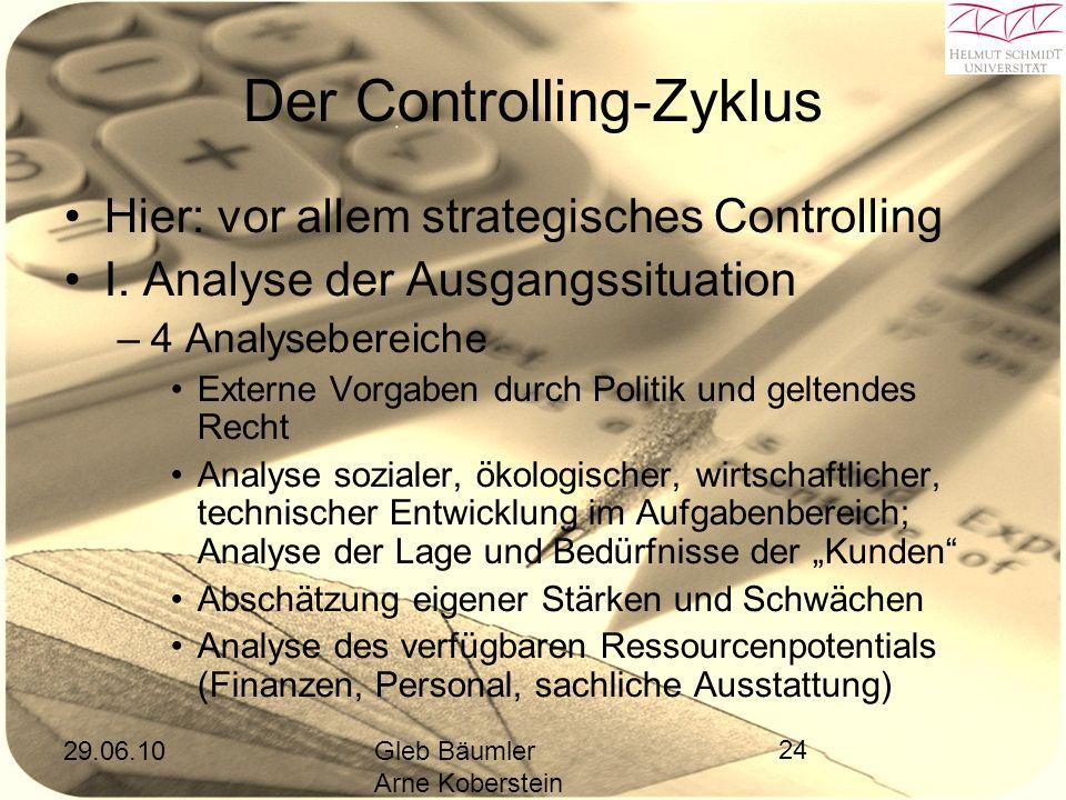 29.06.10Gleb Bäumler Arne Koberstein 24 Der Controlling-Zyklus Hier: vor allem strategisches Controlling I.