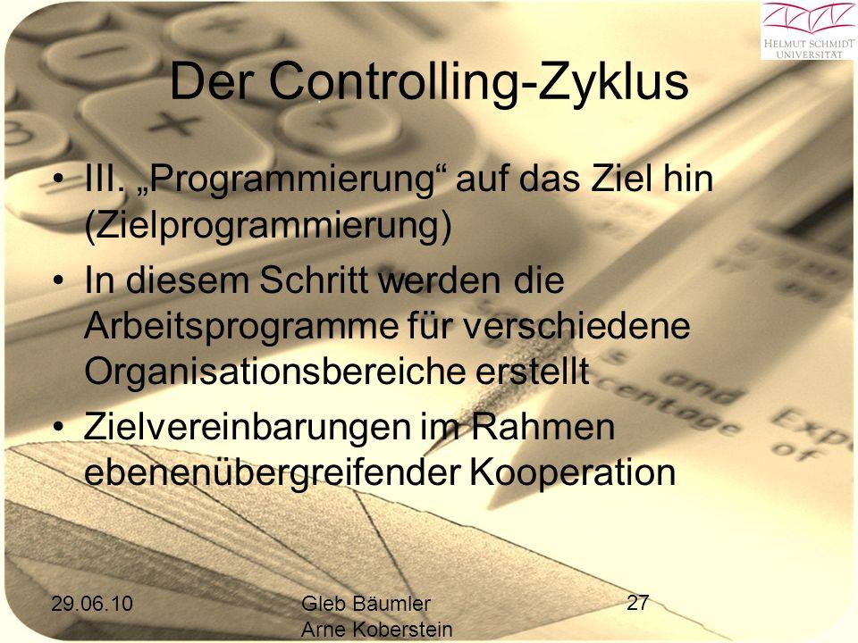 29.06.10Gleb Bäumler Arne Koberstein 27 Der Controlling-Zyklus III.