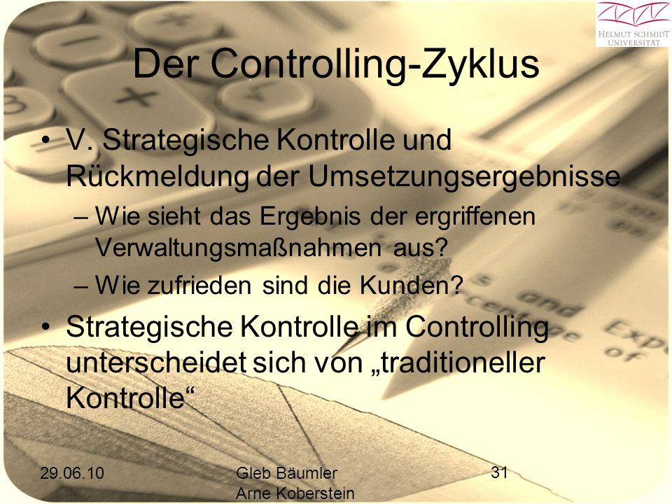29.06.10Gleb Bäumler Arne Koberstein 31 Der Controlling-Zyklus V.