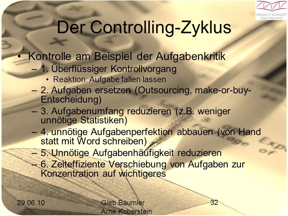 29.06.10Gleb Bäumler Arne Koberstein 32 Der Controlling-Zyklus Kontrolle am Beispiel der Aufgabenkritik –1.